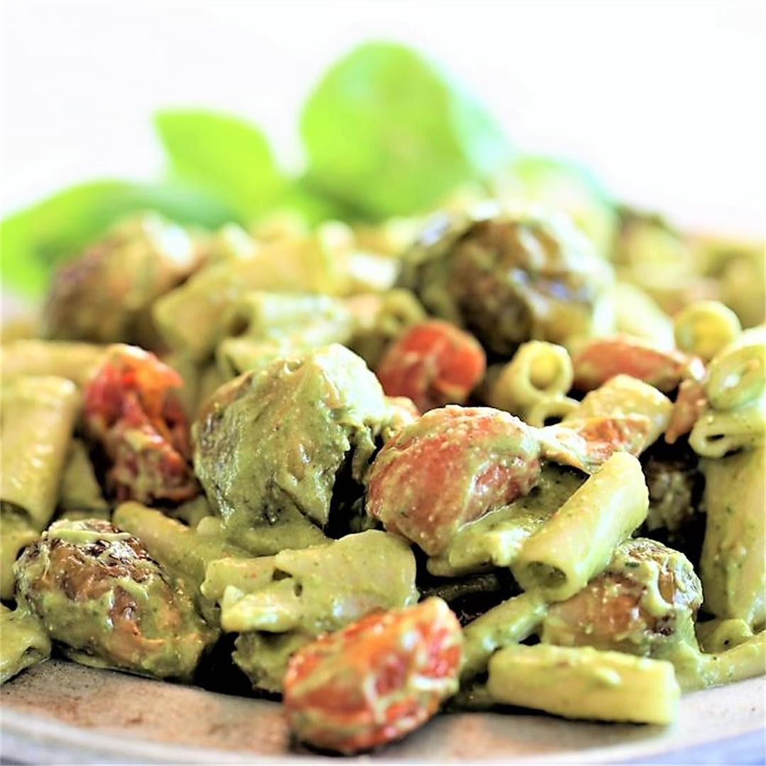 Roasted Tomato Brussel Sprout Pasta