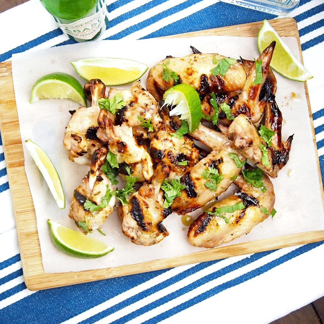 Grilled wings with the flavors of a margarita