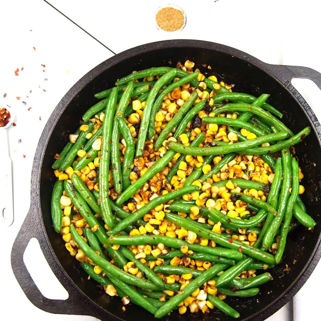 Caramelized Corn with Green Beans and Smoky Cumin