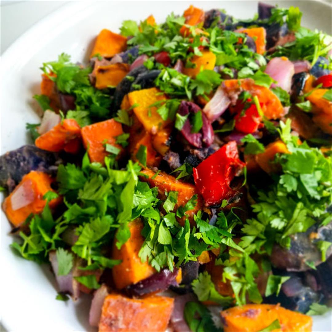 Rainbow Potato Salad with Cilantro-Olive Vinaigrette