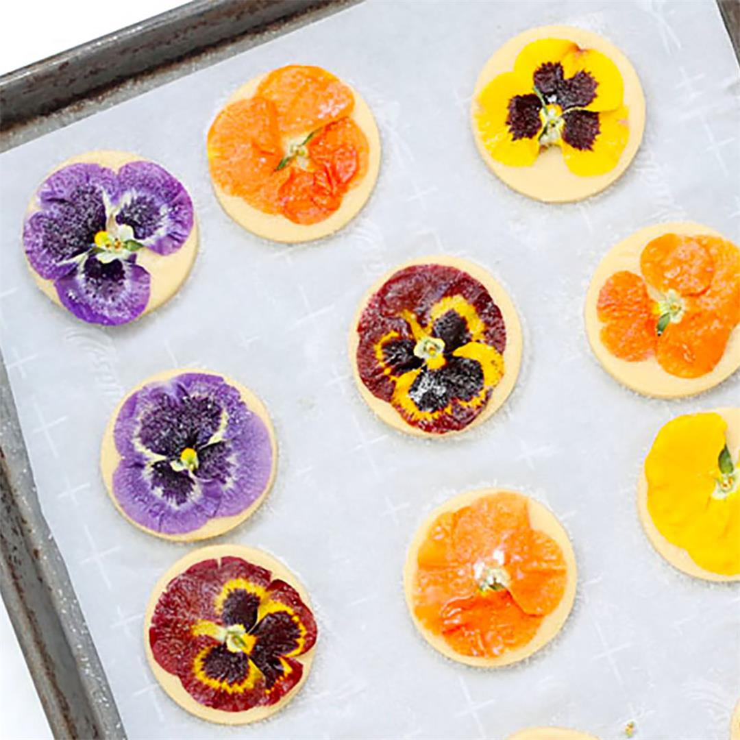 Orange Cookies with Edible Flowers