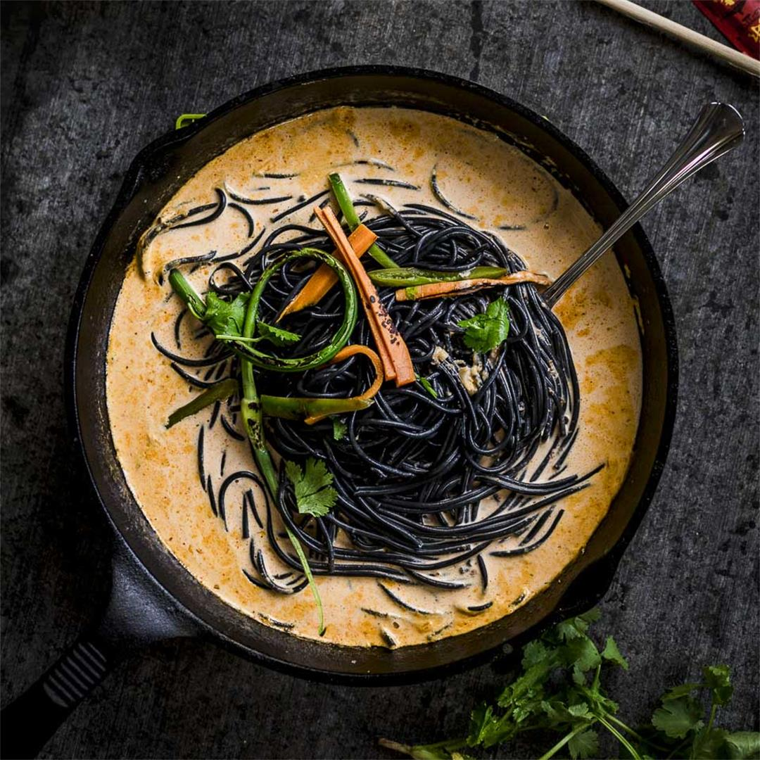 coconut curry noodles with grilled pickled vegetables