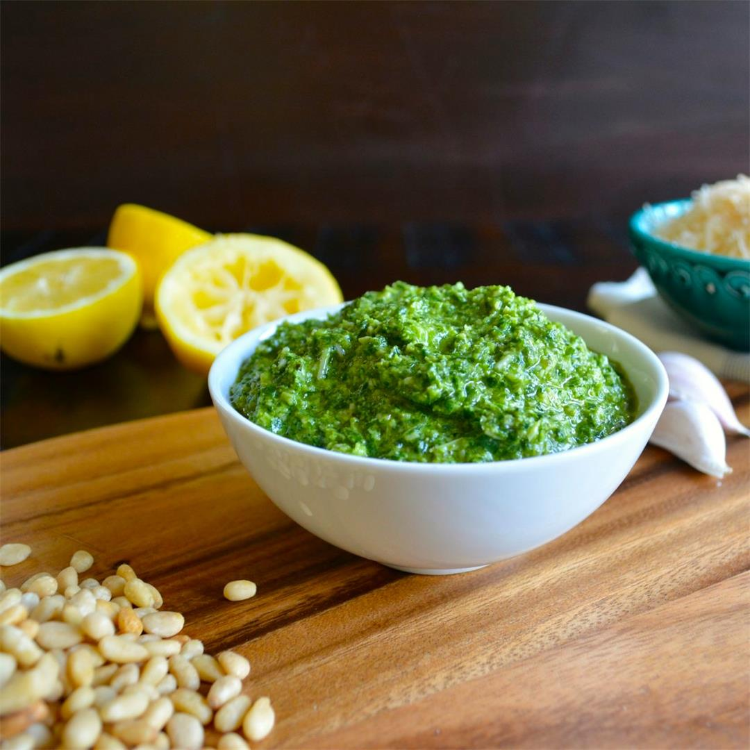Classic Basil Pesto with a lemon twist - bright and versatile!