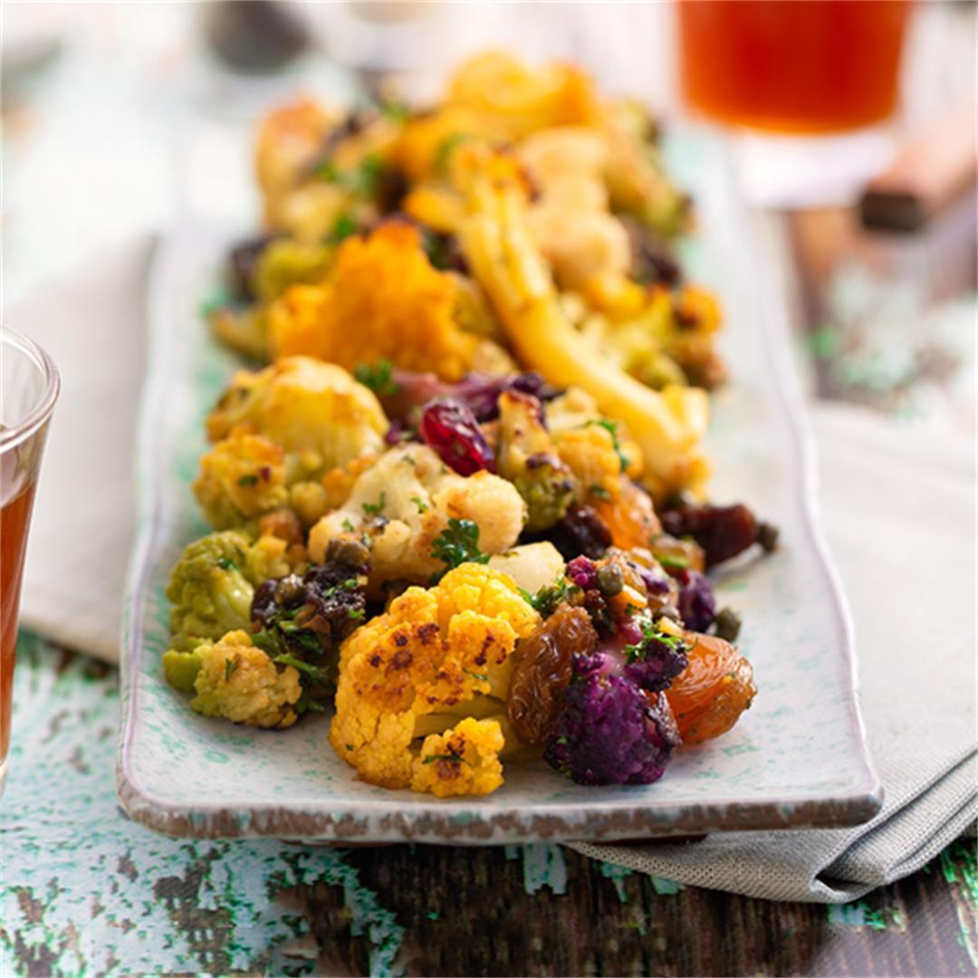 Roasted Rainbow Cauliflower Agrodolce