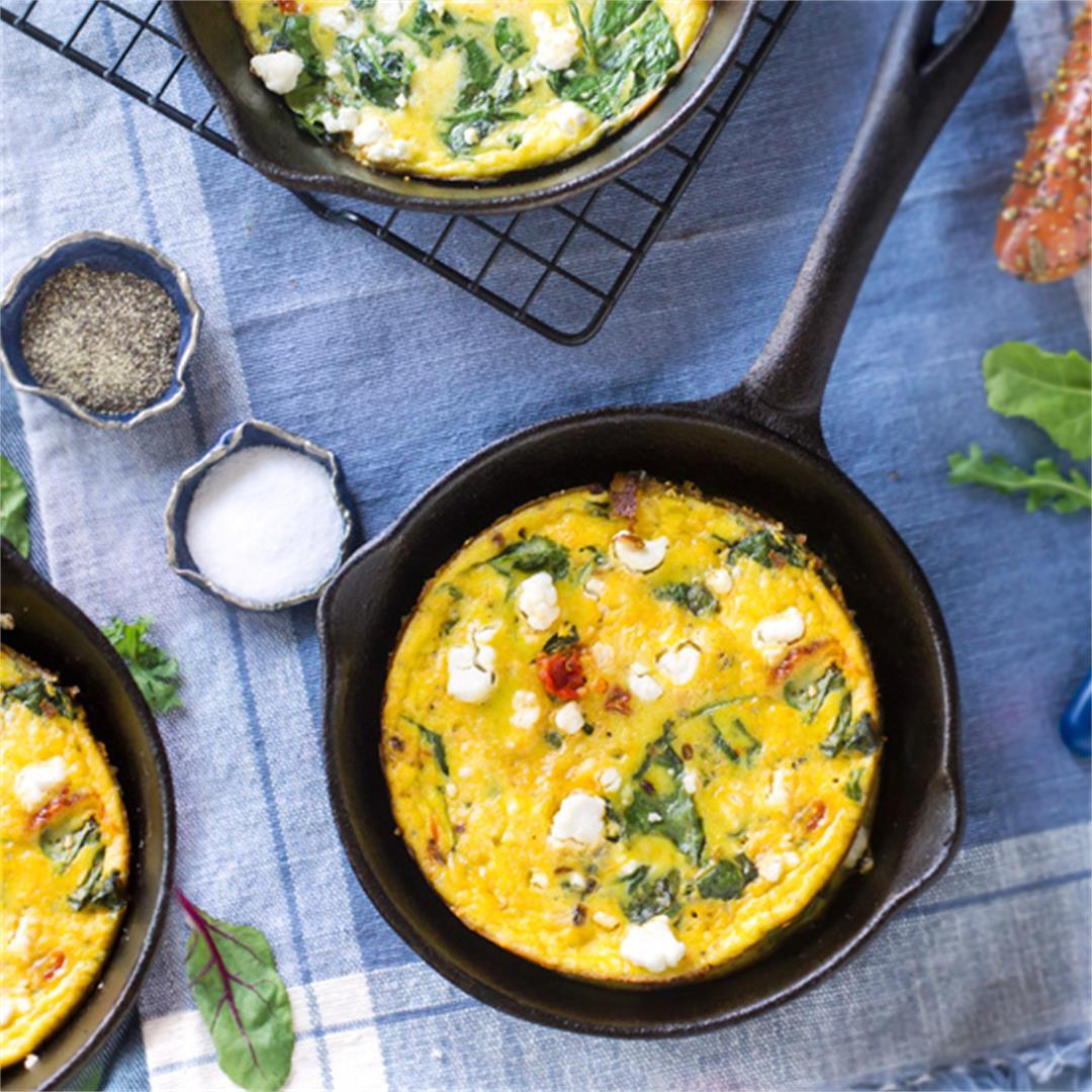 Easy Frittata with Greens and Goat Cheese