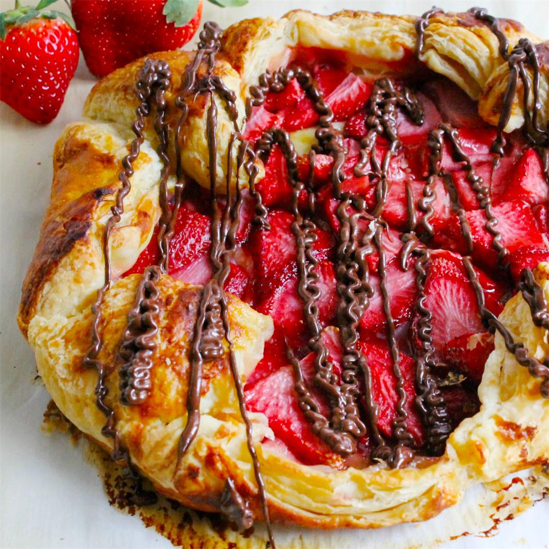 Puff Pastry Chocolate Strawberry Galette