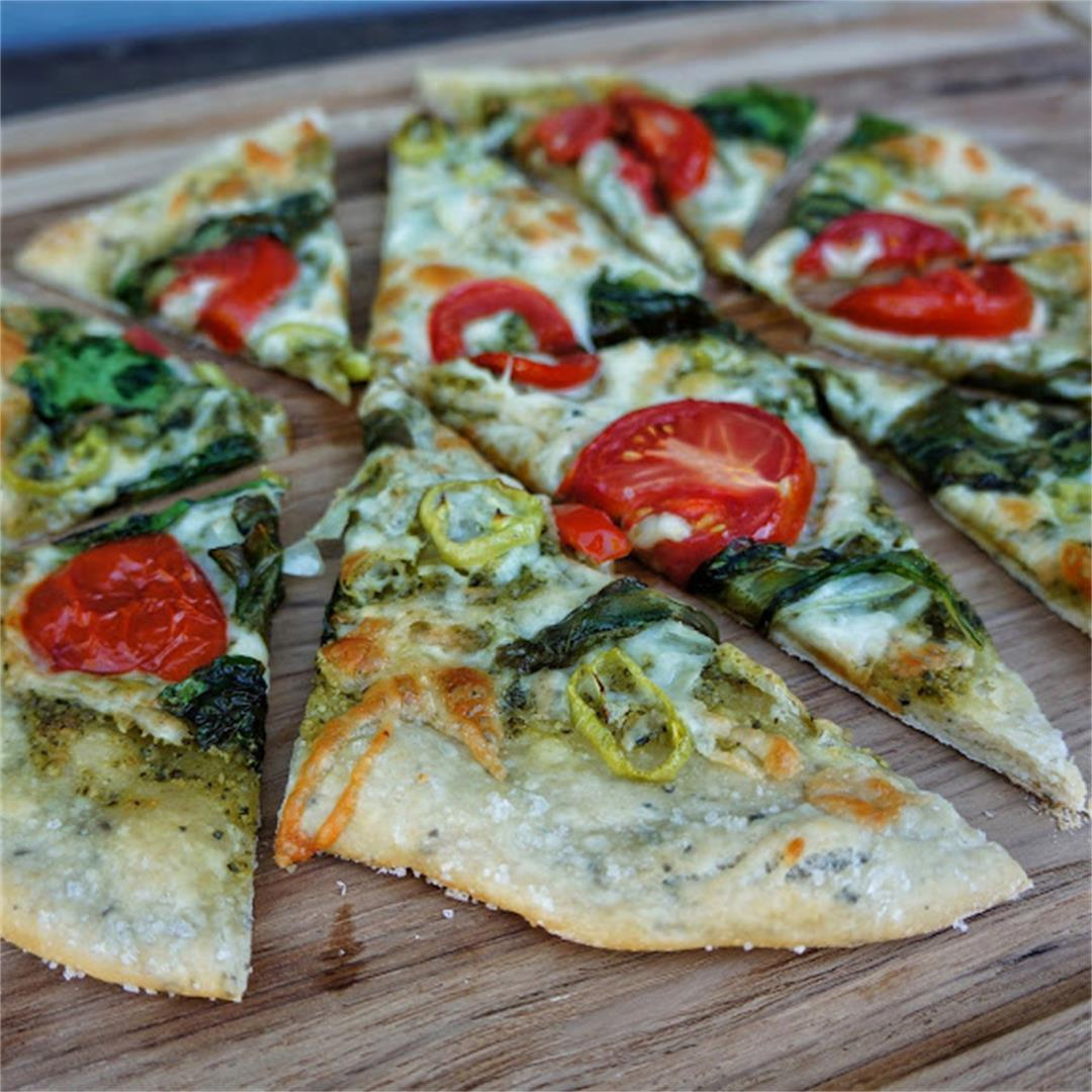 Margarita Flatbread with Homemade Pesto