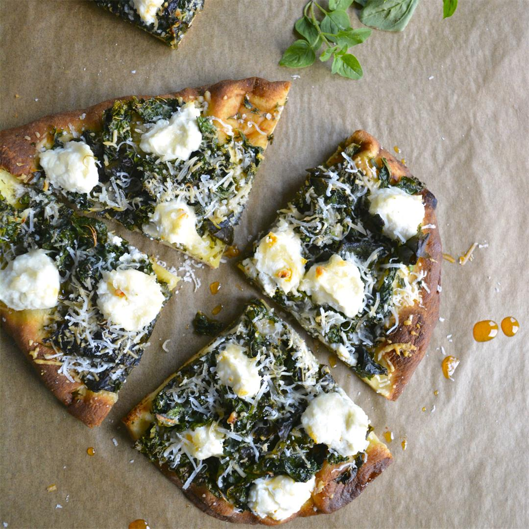 Spicy Kale & Ricotta Pizza with Calabrian Chili Oil Drizzle