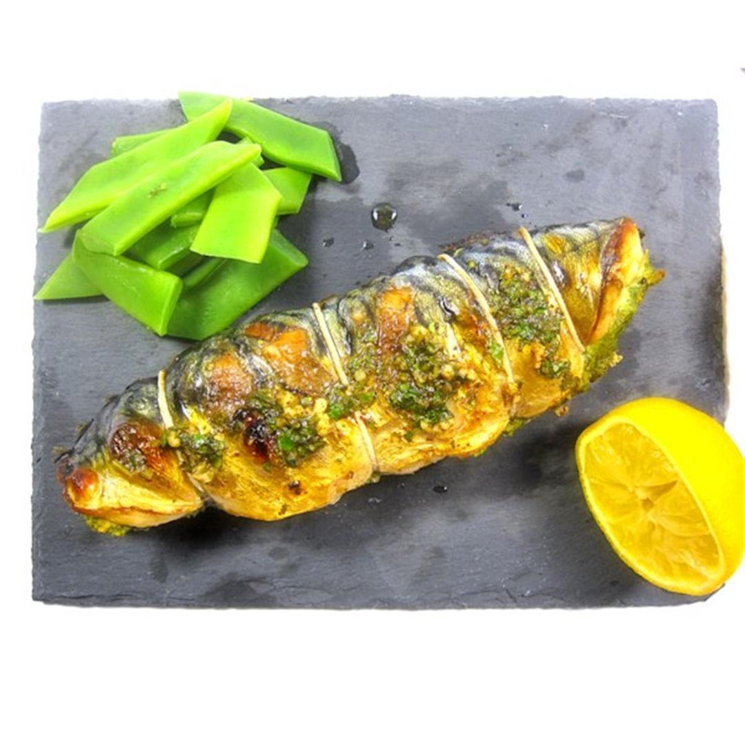 Samphire stuffed mackerel