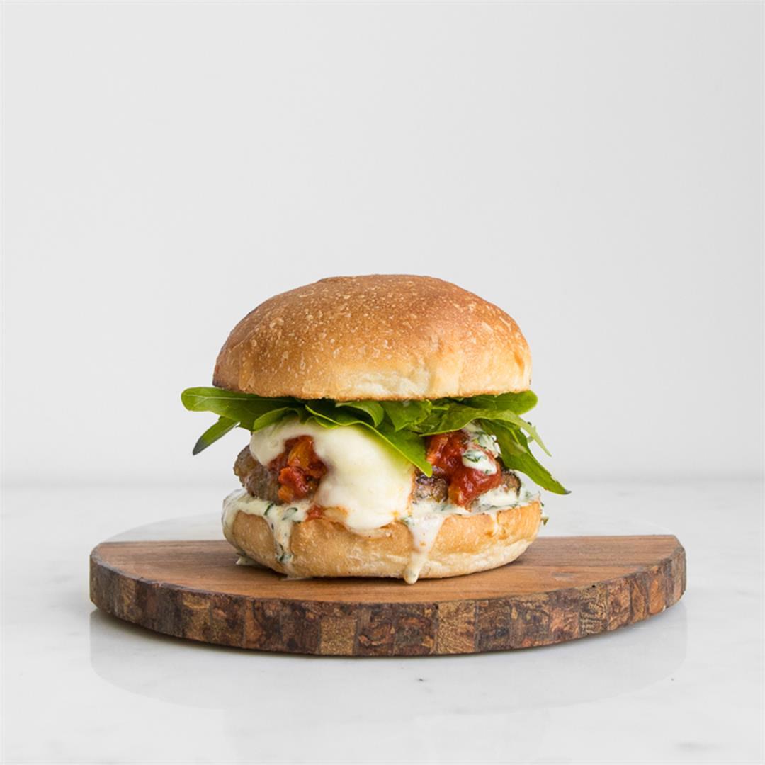 Parmigiana Pork Burgers with Basil Mayo + Tomato Sauce