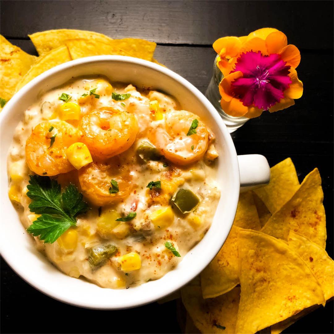 Gluten Free Cajun Shrimp and Corn Dip With Cream Cheese
