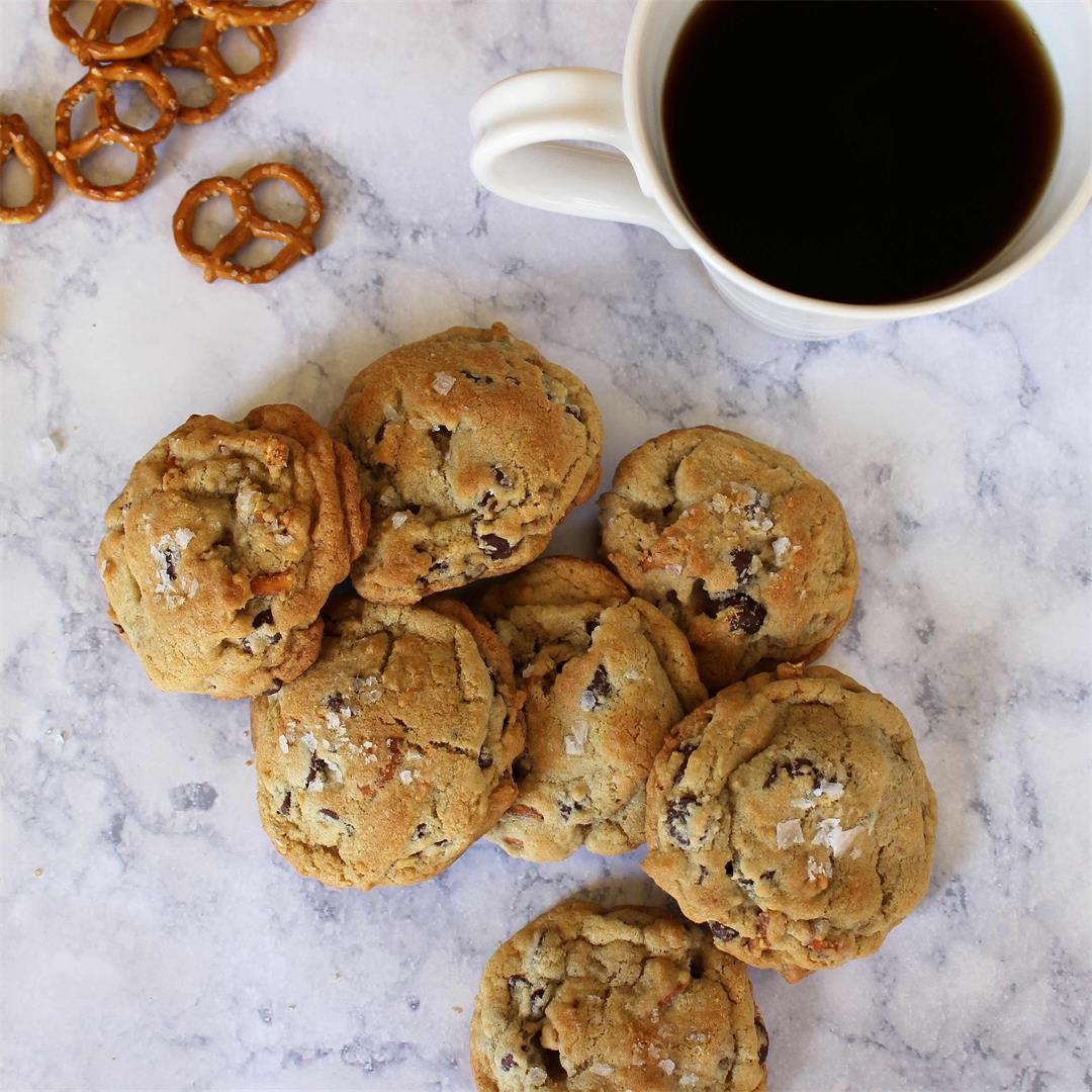 Pretzel and Chocolate Chip Cookies with Sea Salt