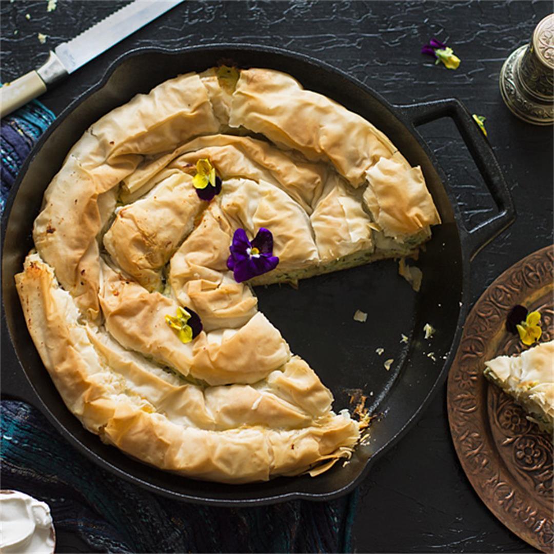 Zucchini Ricotta Spiral Fillo Pie