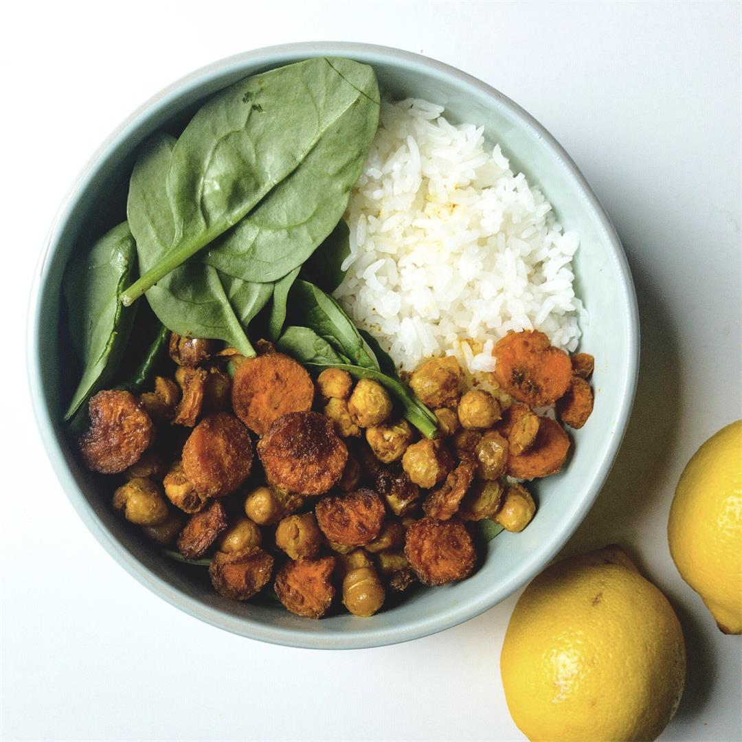 Nourish Bowl with Lemon Turmeric Roasted Carrots and Chickpeas