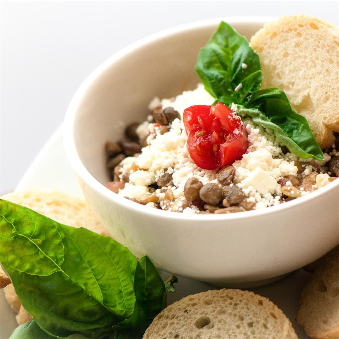 Lentil, Bruschetta Sauce and Feta Dip