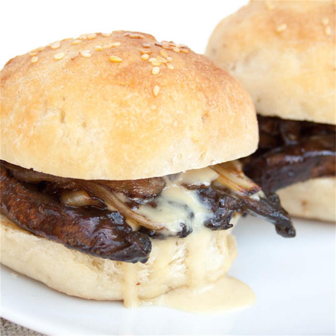 Portobello Mushroom and Caramelized Onion Sliders