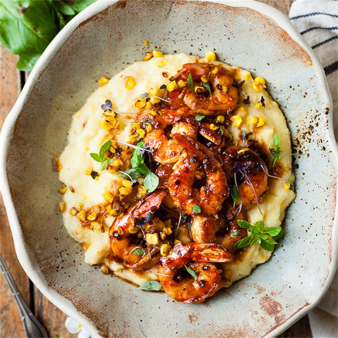 Honey Garlic Shrimp With Golden Corn Polenta