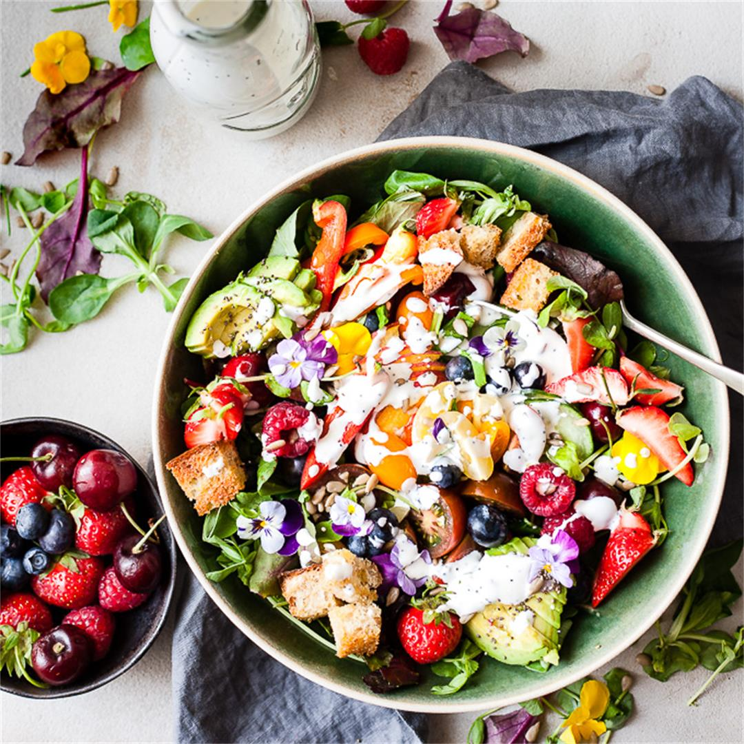 Farmer's Market Garden Salad With Lemon Poppy Seed Dressing
