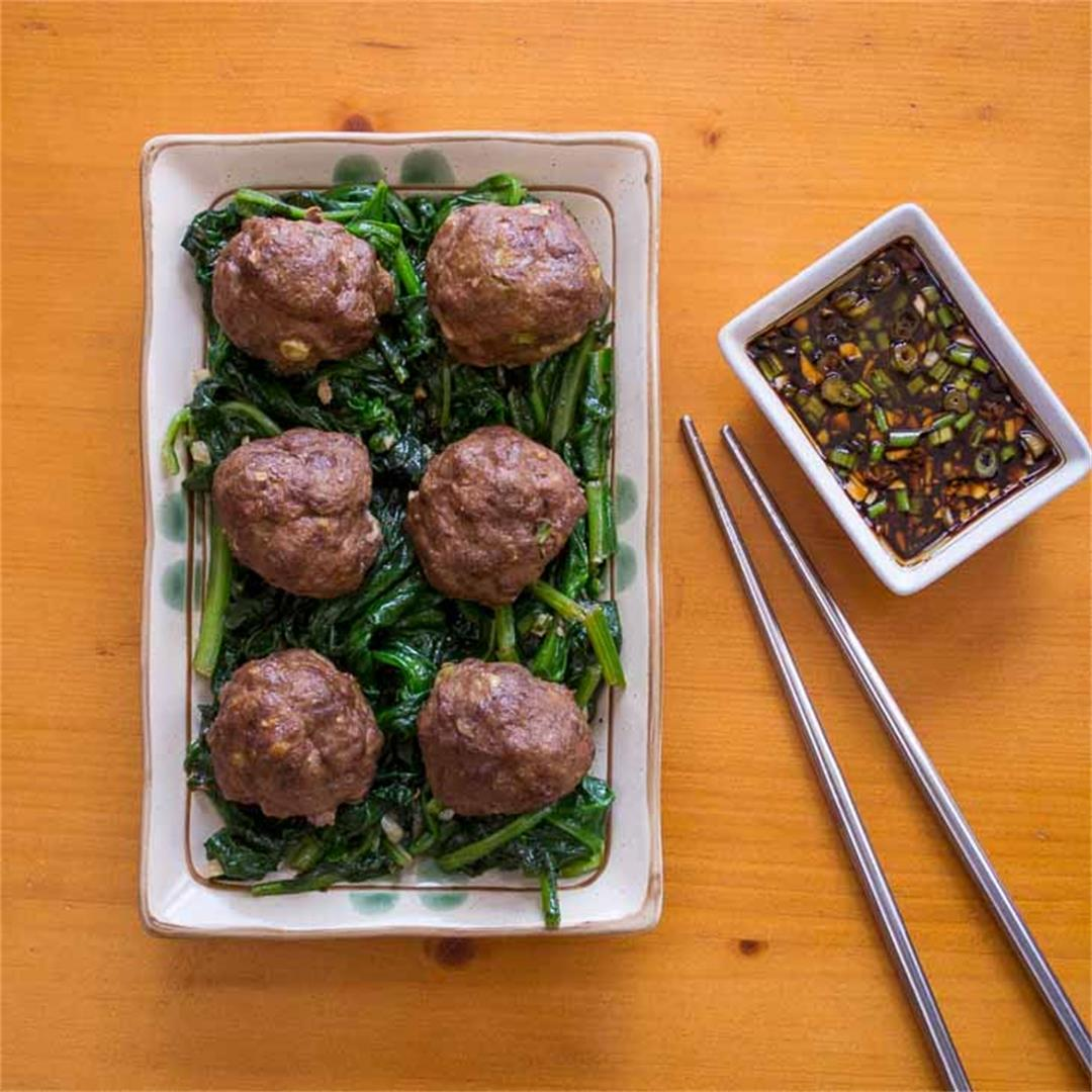 Keto Asian Meatballs Recipe with Dipping Sauce [Paleo, Dairy-Fr