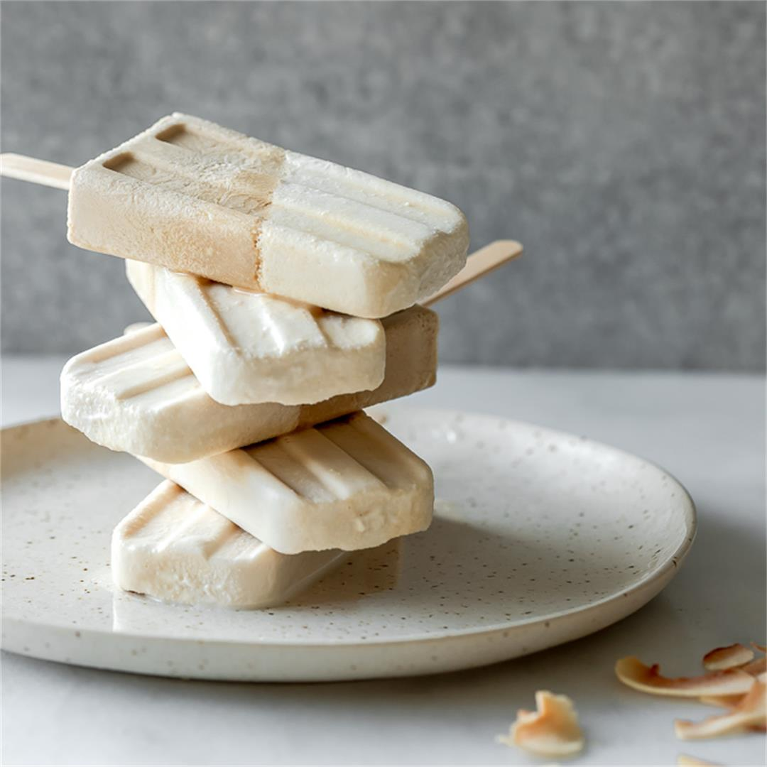 Toasted Coconut Latte Popsicles