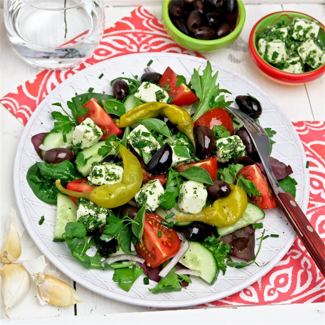 Mamma mia! This Greek salad with marinated feta is a winner!