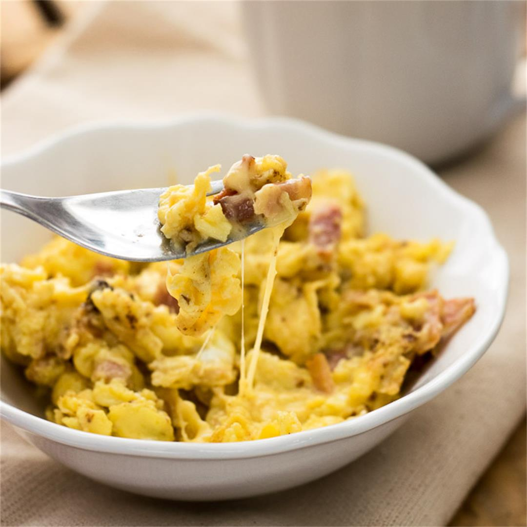 Scrambled Eggs with Bacon and Cheese