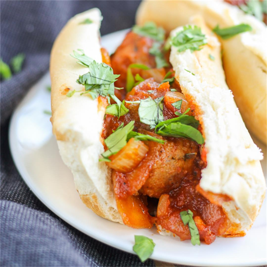 Asian Pork Meatball Sandwich
