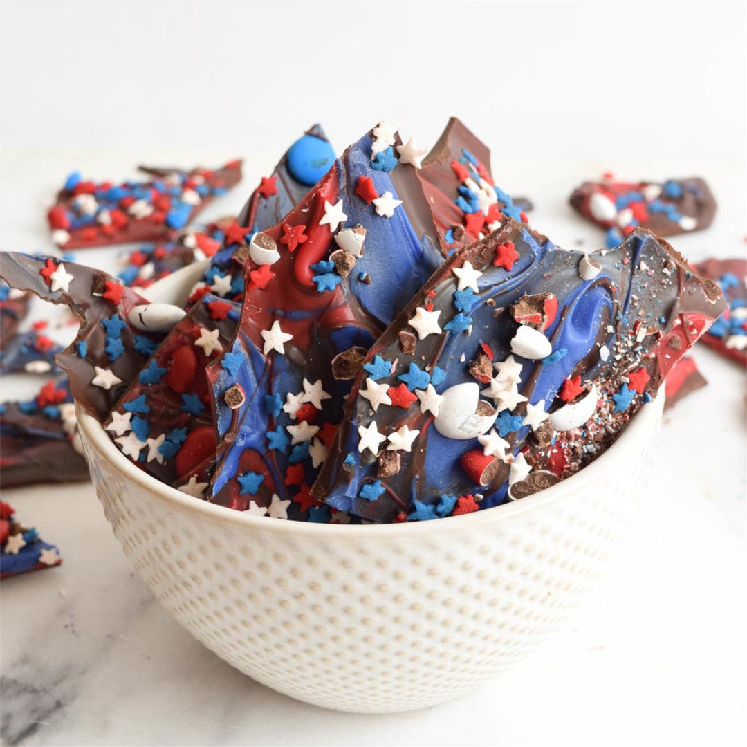 Red, White and Blue Chocolate Bark
