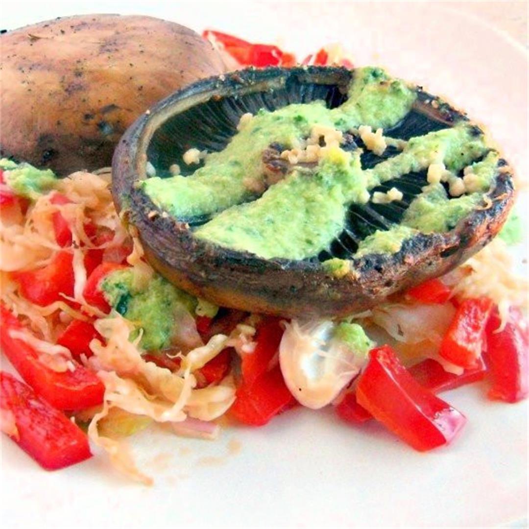 Grilled Portobello Mushrooms On Red Pepper Slaw