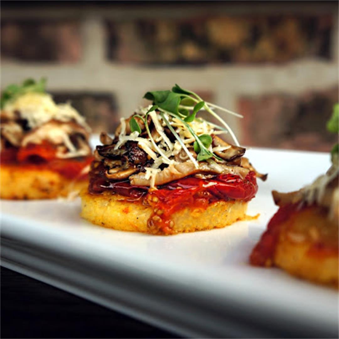 Crispy Polenta Mushroom Rounds with Wild Mushrooms