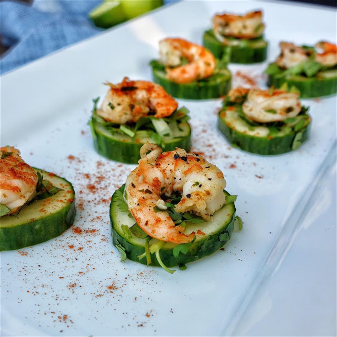 Blackened Shrimp and Cucumber Canapes