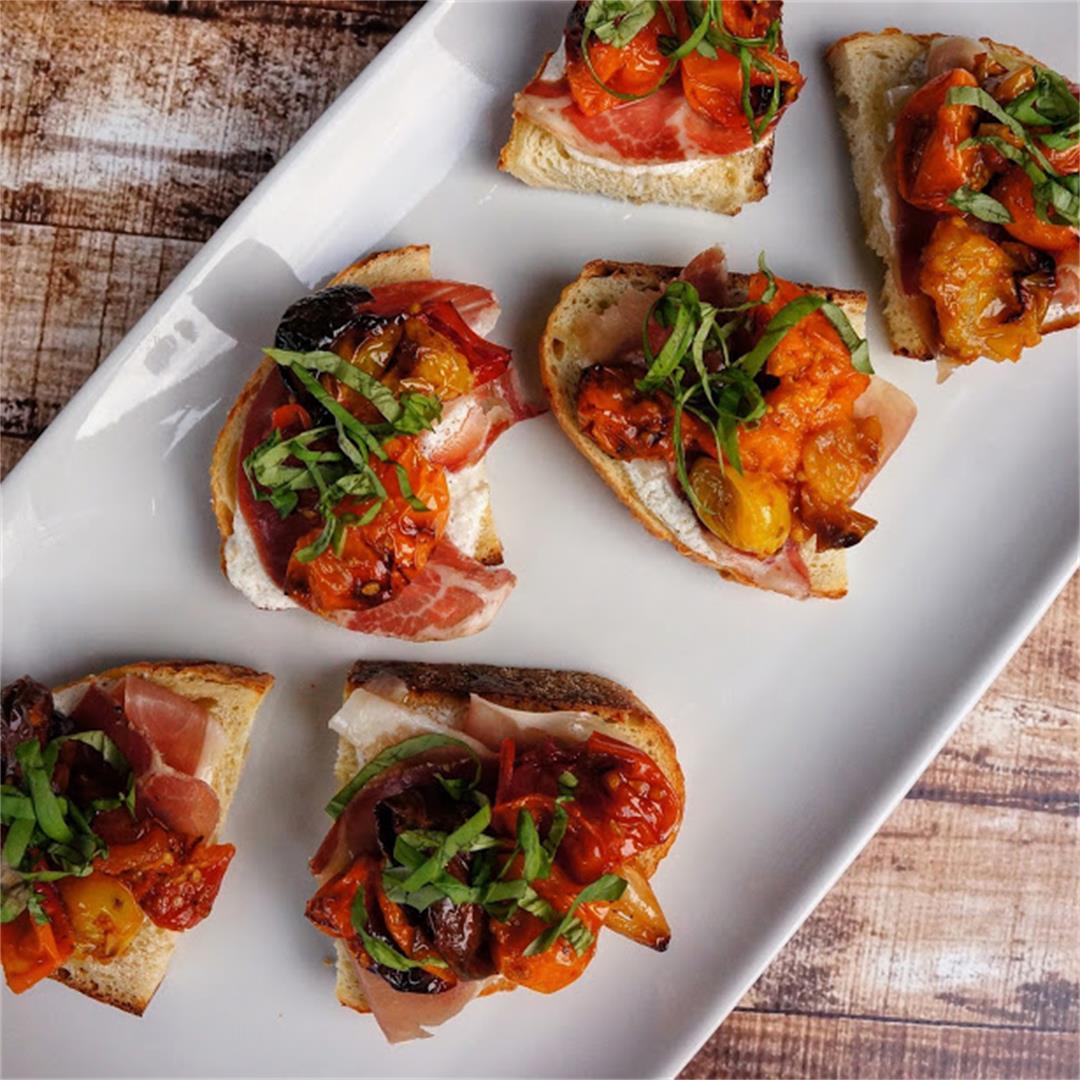 Roasted Heirloom Tomato Bruschetta