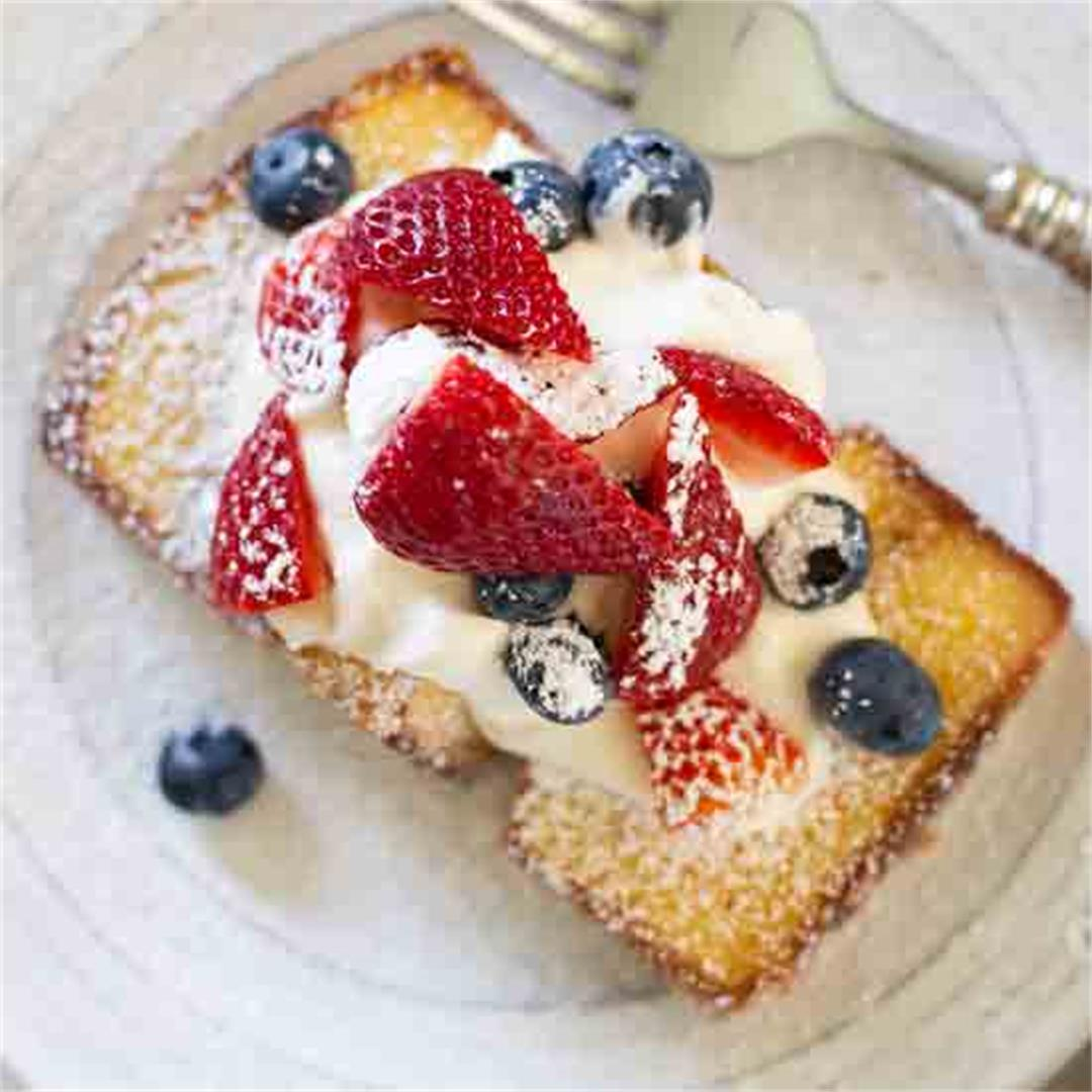 Easy Red, White and Blue Skillet Pound Cake
