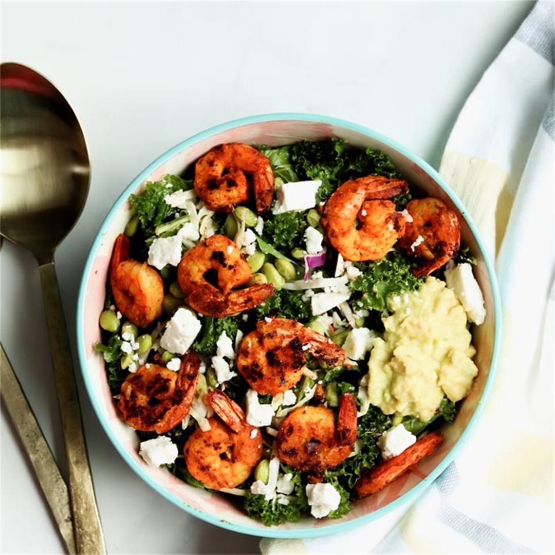 Chili & Garlic Shrimp Kale Salad With Edamame