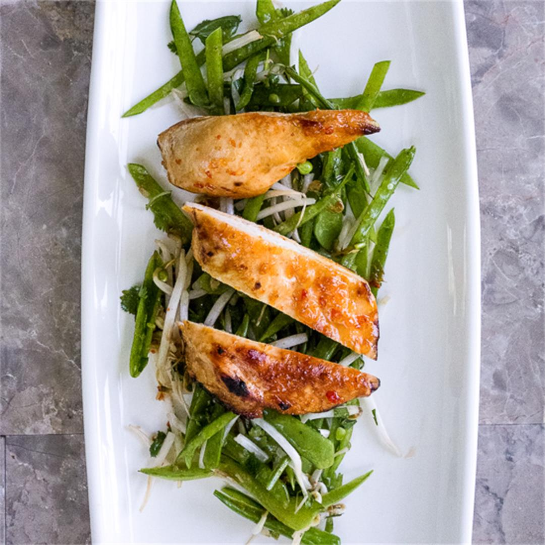 Chile Chicken with Snow Peas Salad