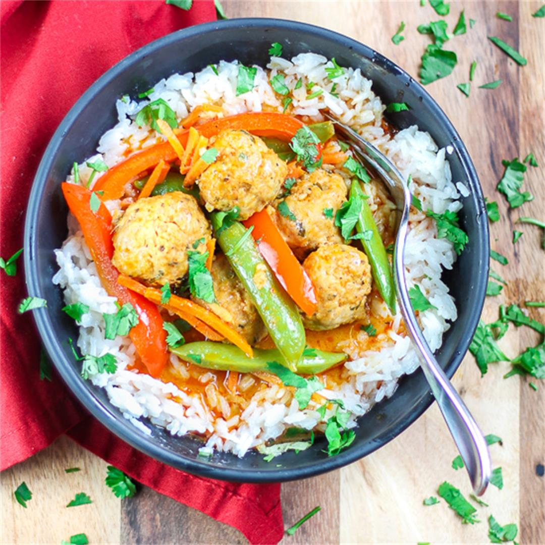 Curry Meatballs with Coconut Rice