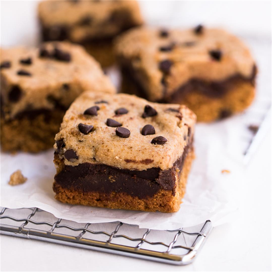 Secretly healthy Cookie Bars Topped with Cookie Dough