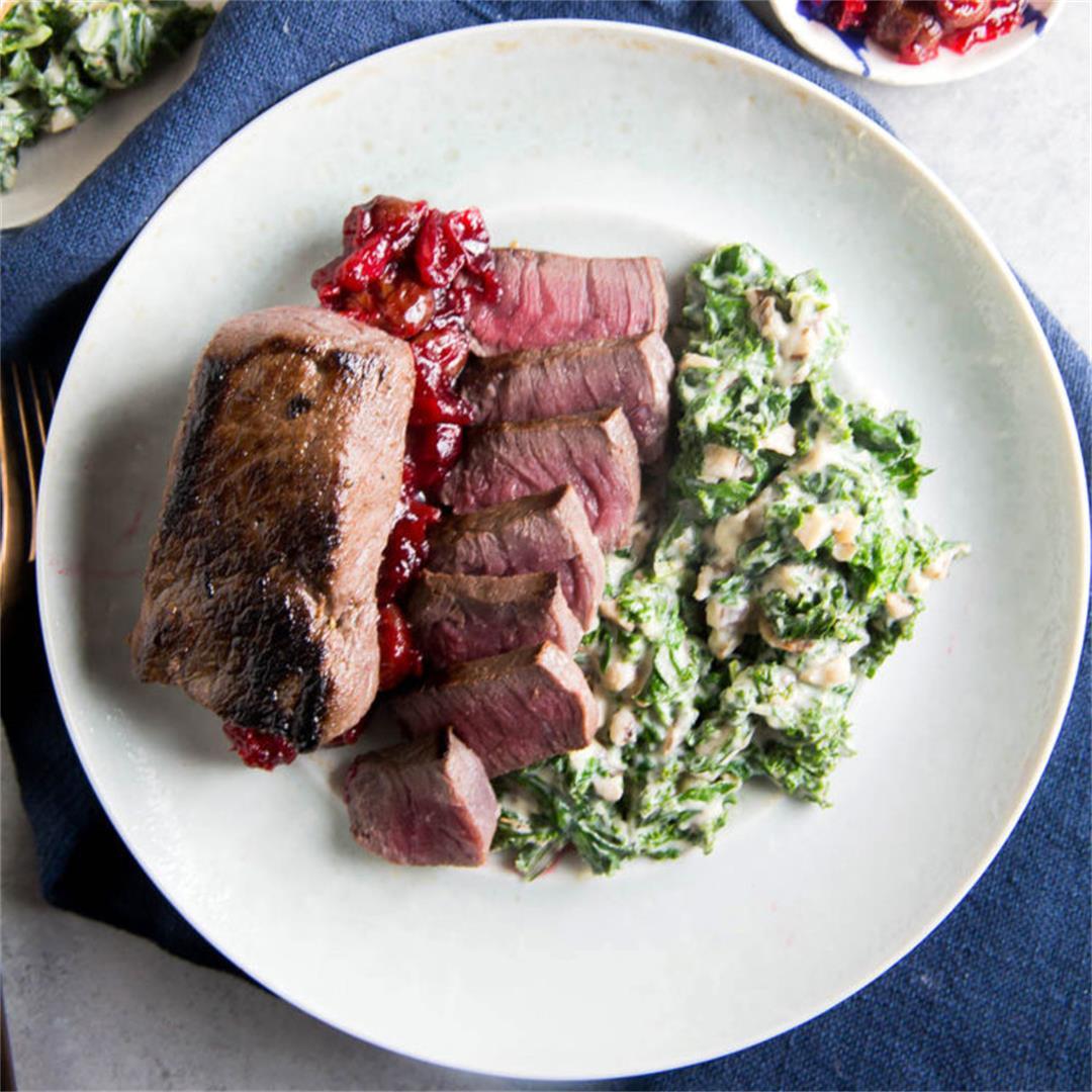 Venison Steak and Creamed Kale