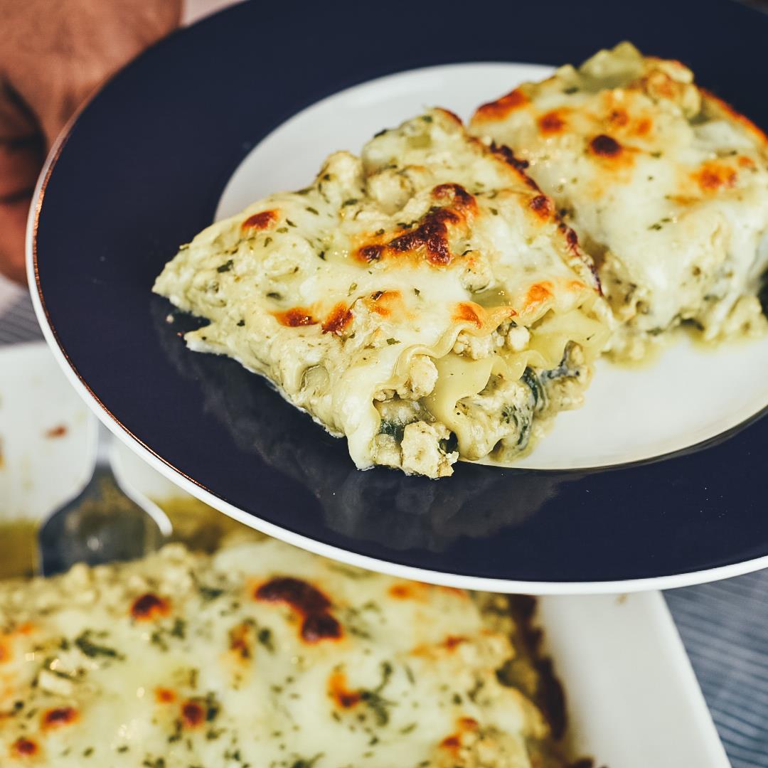 Creamy Chicken Pesto Lasagna Rolls