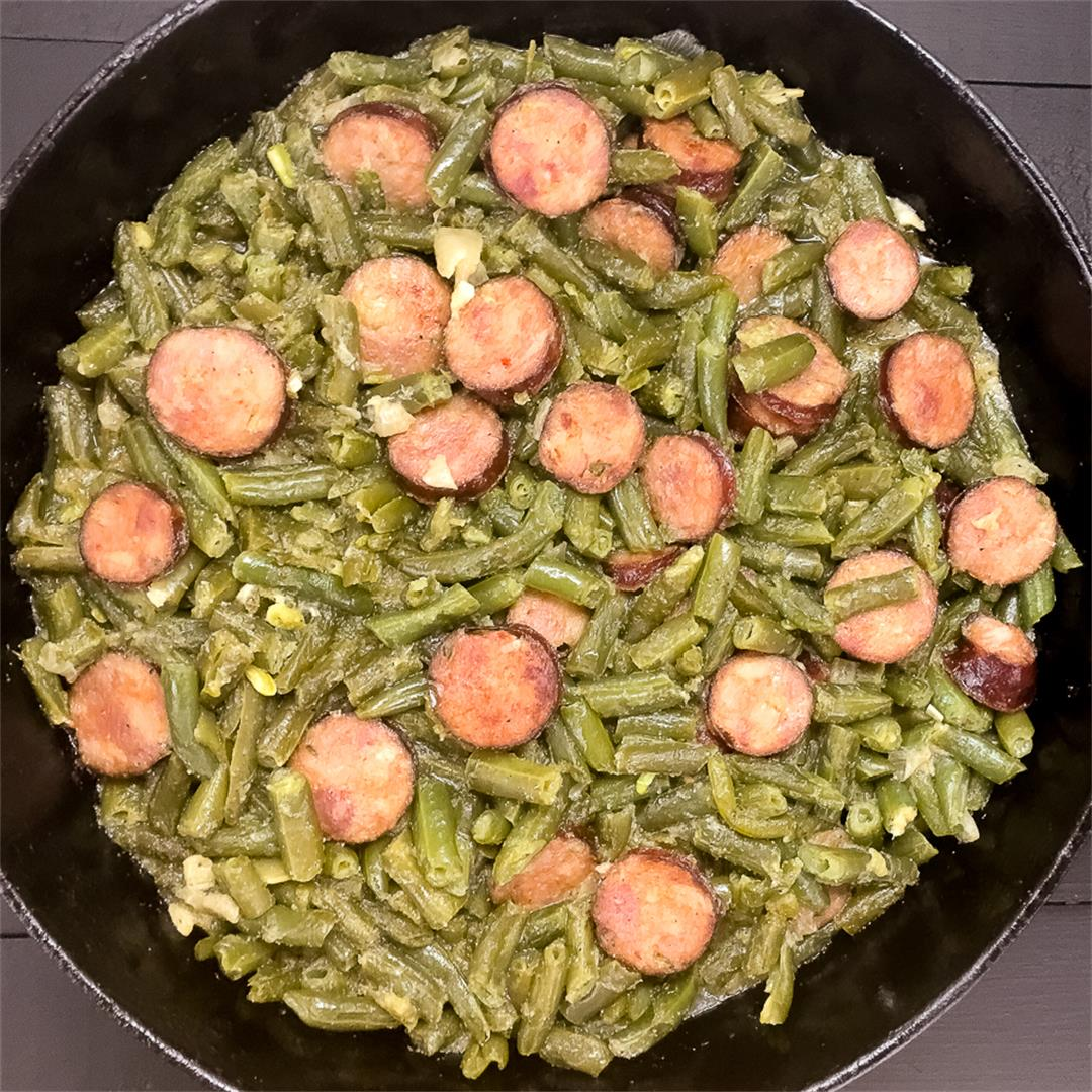 Cajun Smothered Green Beans With Sausage