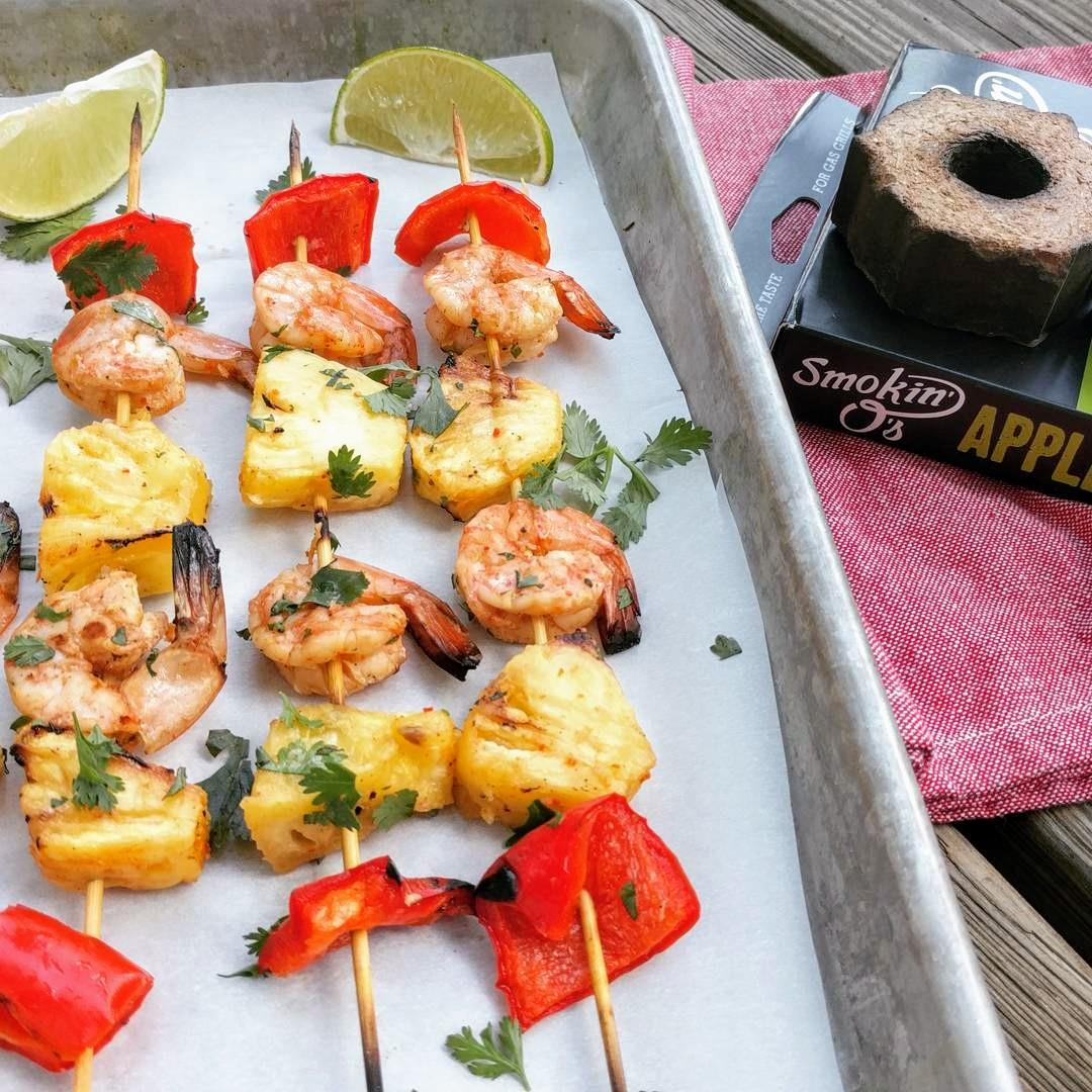 Spicy and tangy smoked shrimp with sweet pineapple is perfect s