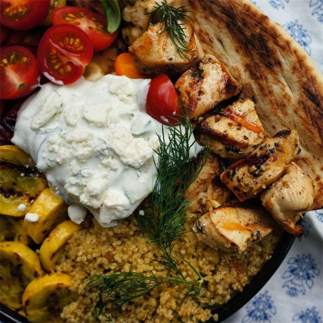 Souvlaki Herb Quinoa with Roasted Veggies