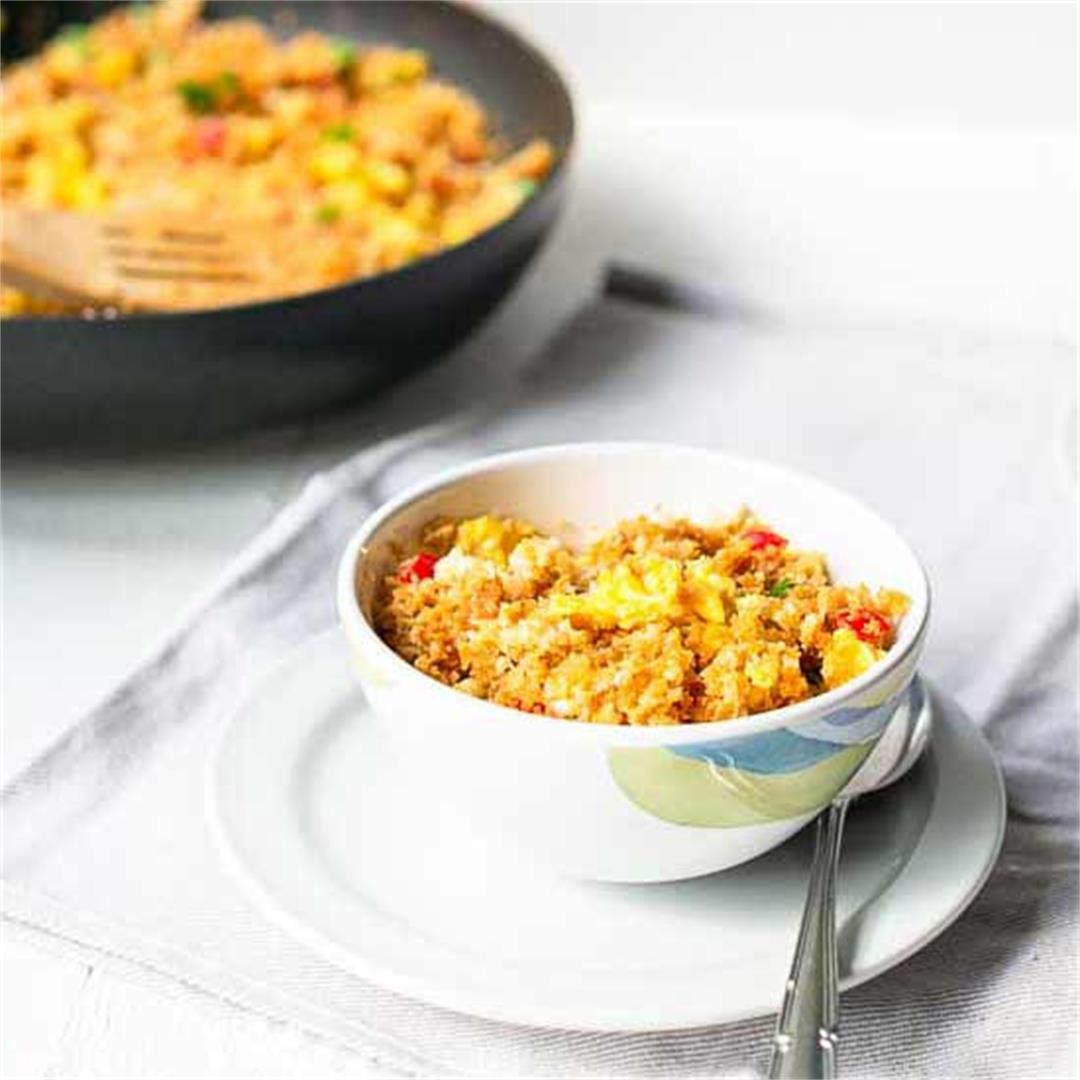 Low carb keto fried cauliflower rice