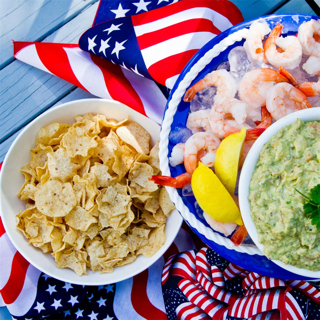 Spiced Shrimp and Creamy Guacamole for an Outdoor Party