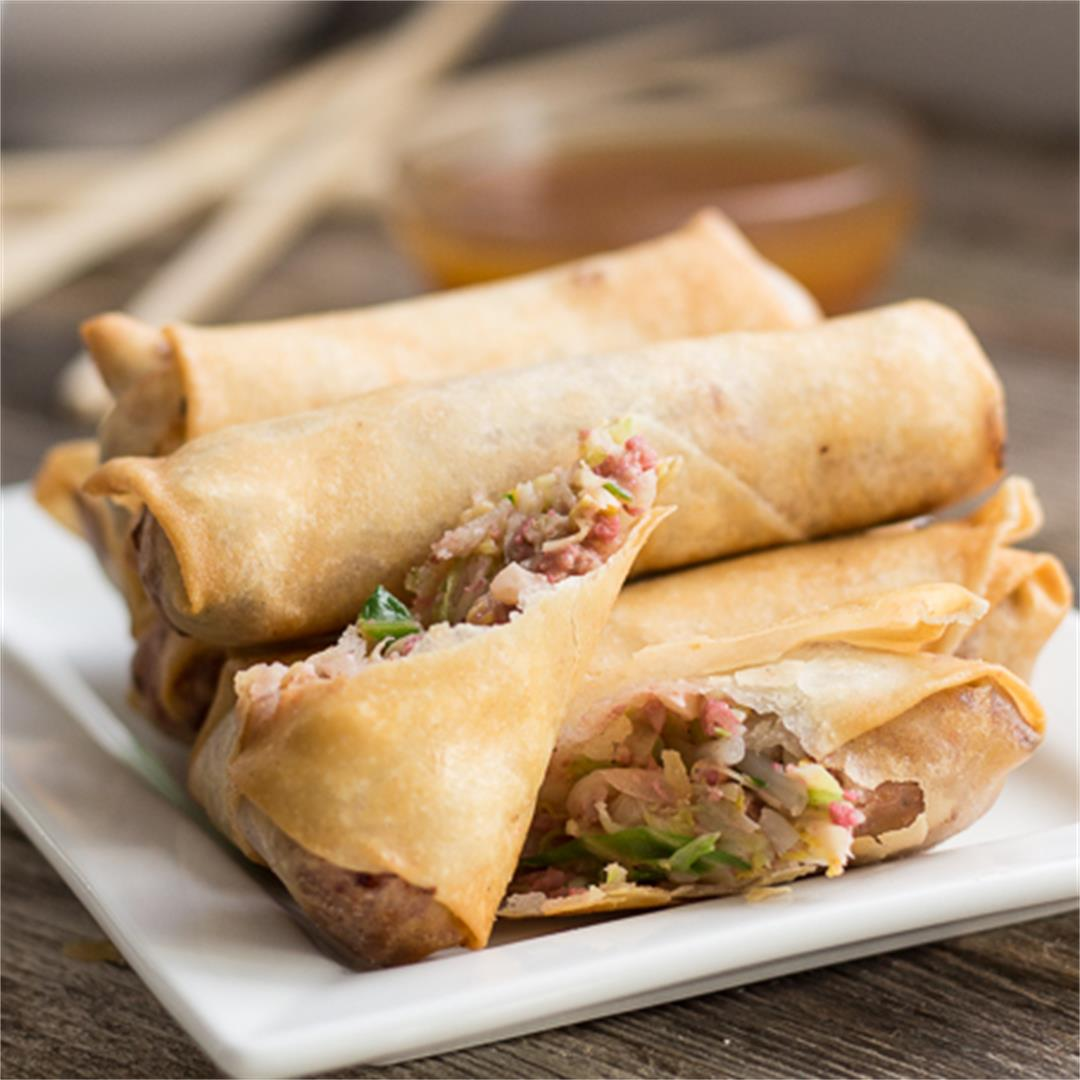 BBQ Pork Egg Rolls with Apricot Sweet & Sour Sauce