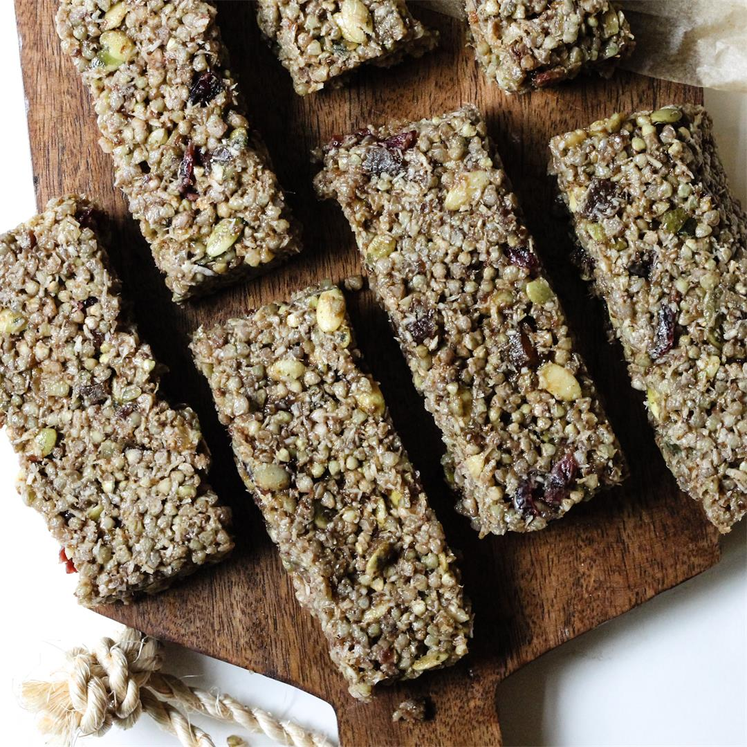 Nut Free, Oat Free Sprouted Buckwheat Granola Breakfast Bars