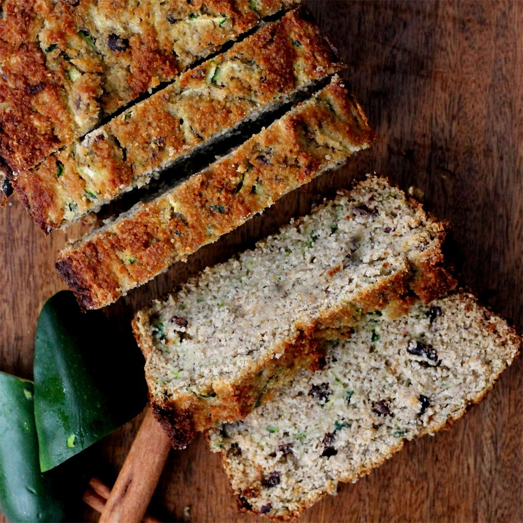 Lower Sugar, Paleo (No Grain) Zucchini Bread with Coconut Flour