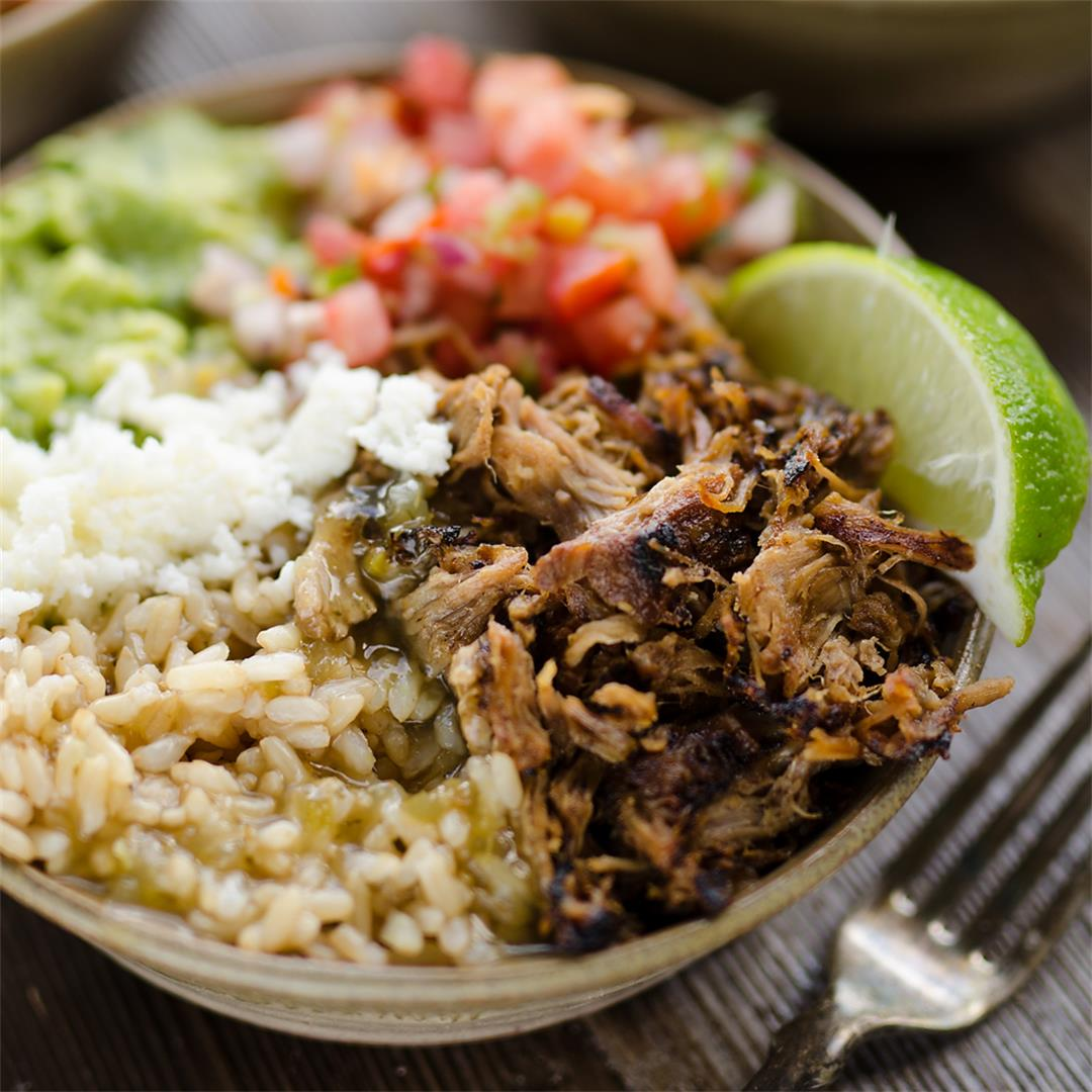 Easy Pork Carnitas Rice Bowls