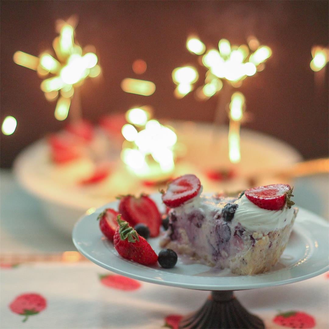 Blueberry-Strawberry Shortcake Ice Cream Cookie Pie