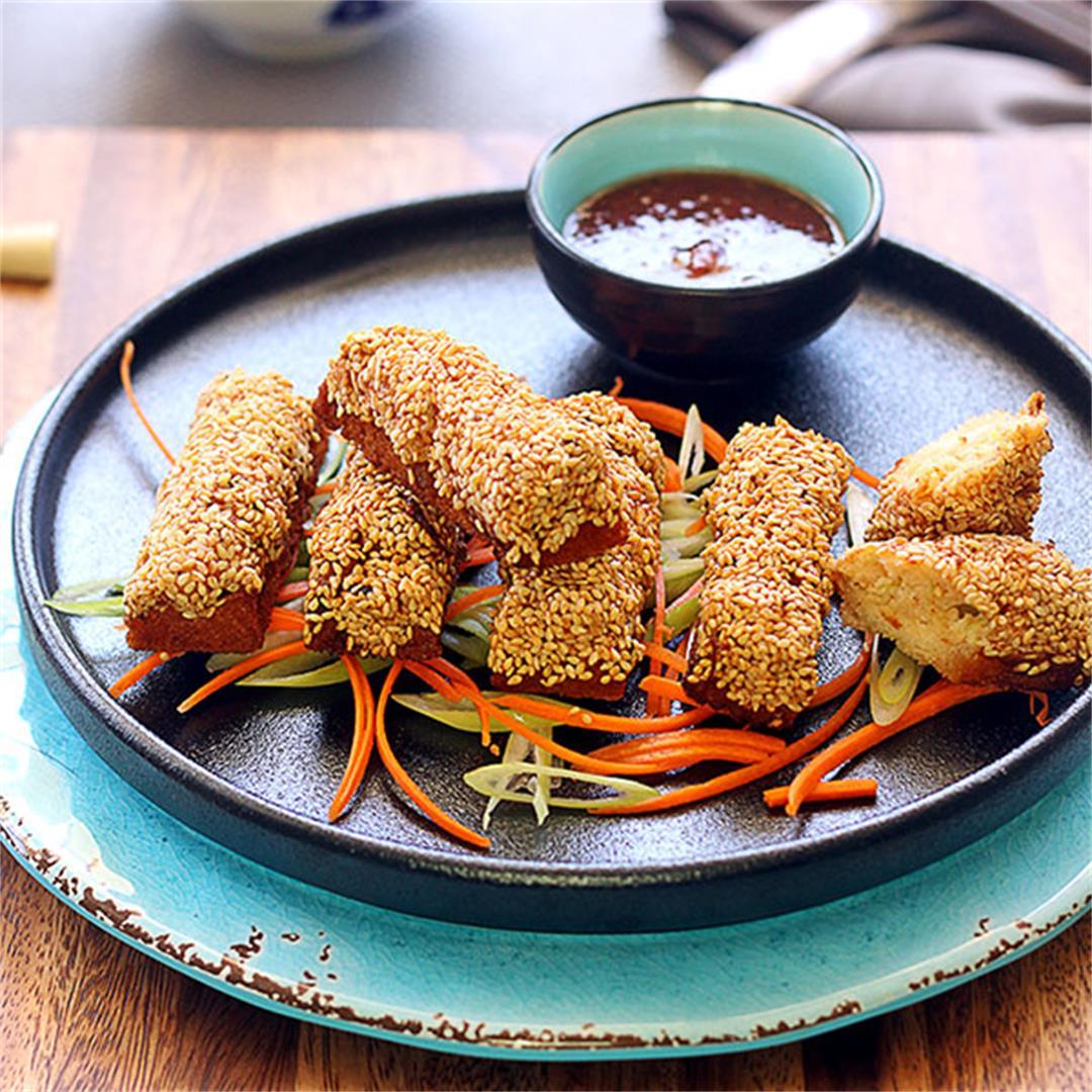 Golden Sesame Prawn Toast (Shrimp Toast)